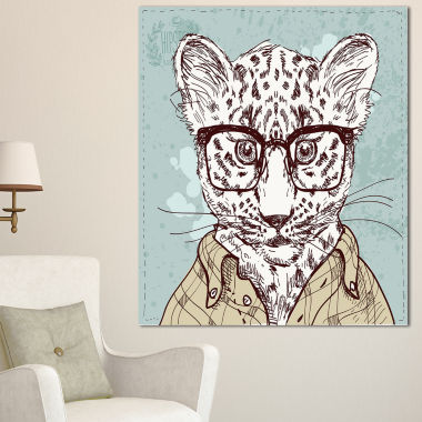 Designart Hipster Leopard With Glasses Animal Canvas Art Print