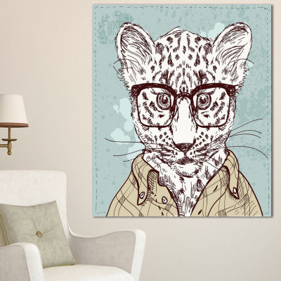 Designart Hipster Leopard With Glasses Animal Canvas Art Print - 3 Panels