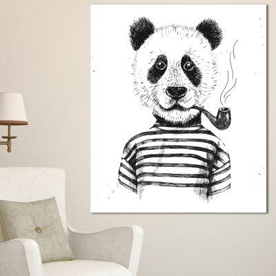 Designart Hipster Pandas Black And White Animal Canvas Art Print