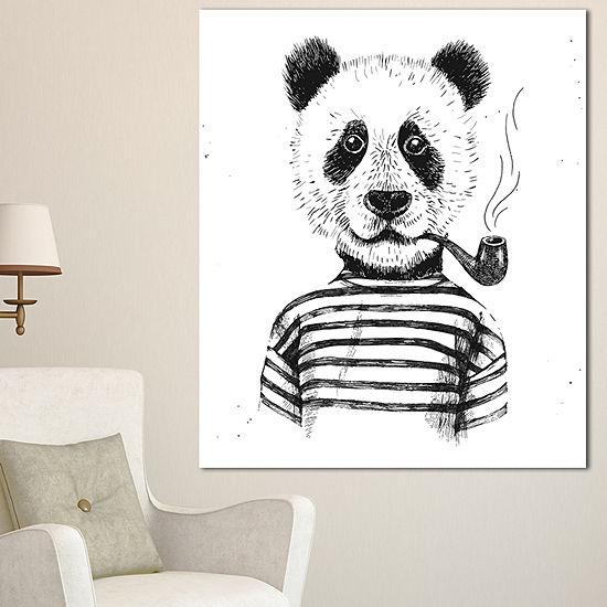 Designart Hipster Pandas Black And White Animal Canvas Art Print - 3 Panels