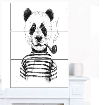 Designart Hipster Pandas Black And White Animal Canvas Art Print - 3 Panels