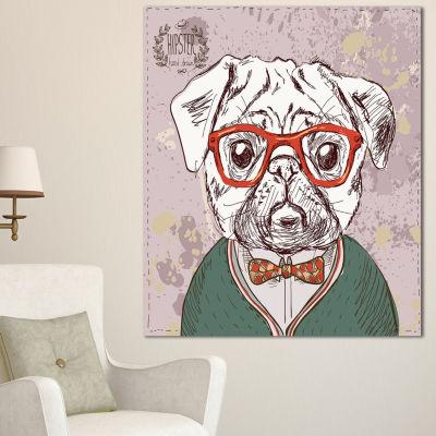 Designart Hipster Pug Dog In Vintage Style AnimalCanvas Art Print - 3 Panels