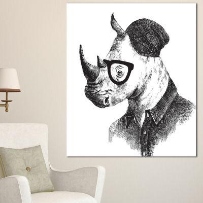 Designart Hipster Rhino In Black And White AnimalCanvas Art Print