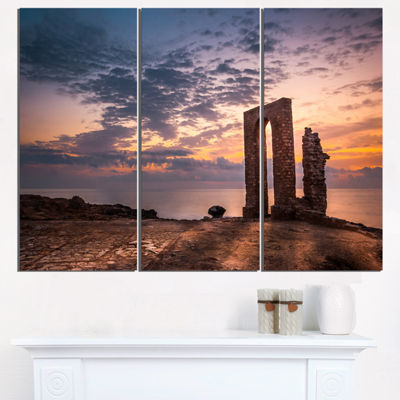 Designart Historic African Ruins At Sunset Landscape Triptych Canvas Art Print