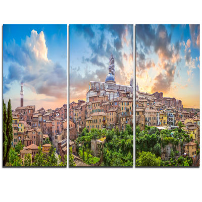 Designart Historic City Of Siena Panoramic View Landscape Triptych Canvas Art Print