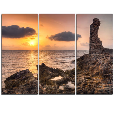 Designart Historic Ruins At Sunset Africa Extra Large Seashore Triptych Canvas Art
