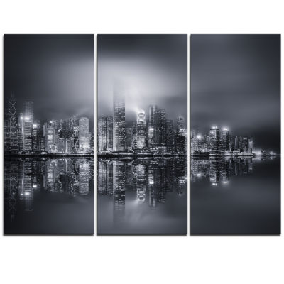Designart Hong Kong Black And White Panorama Cityscape Triptych Canvas Art Print
