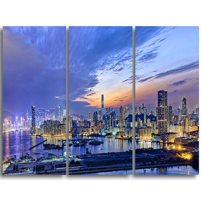 Designart Hong Kong City Sunset Panorama CityscapeTriptych Canvas Art Print