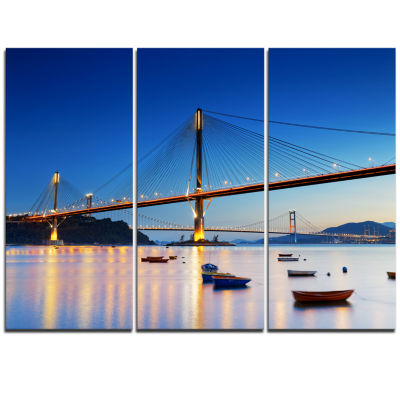 Designart Hong Kong High Bridge At Night Sea Bridge Triptych Canvas Art Print