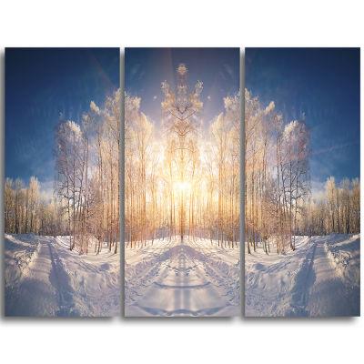 Designart Horizontally Flipped Winter Land Landscape Triptych Canvas Art Print