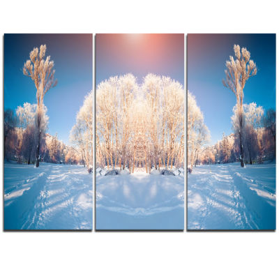 Designart Horizontally Flipped Winter Trees ExtraLarge Seashore Triptych Canvas Art
