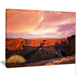 Designart Horse Shoe Bend Under Cloudy Sky Landscape Canvas Art Print