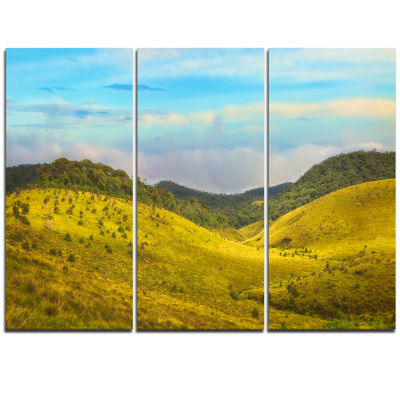 Designart Horton Plains Under Blue Sky OversizedLandscape Wall Art Print