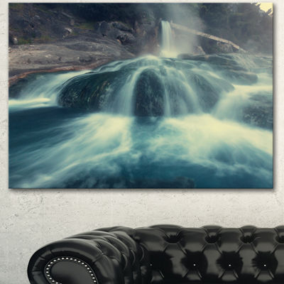Designart Hot Spring Thermopiles Greece Seascape Canvas Art Print - 3 Panels