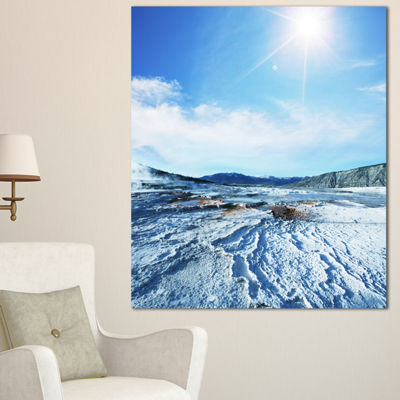 Designart Hot Spring With Bright Sky And Sun Oversized Landscape Canvas Art