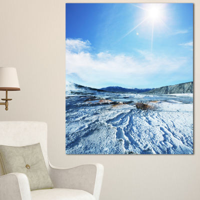 Designart Hot Spring With Bright Sky And Sun Oversized Landscape Canvas Art - 3 Panels