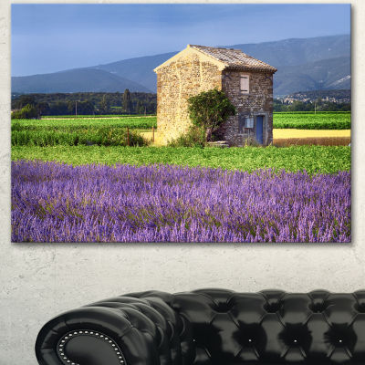 Designart House In The Lavender Field Landscape Canvas Wall Art - 3 Panels