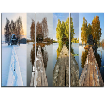 Designart Houses On Small Island Panorama Modern Seascape Triptych Canvas Artwork