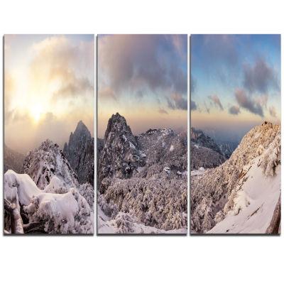Designart Huangshan Hill Snow In Winter OversizedLandscape Wall Art Print