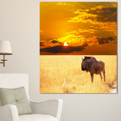 Designart Huge Antelope In Field At Sunset AfricanLandscape Canvas Art Print
