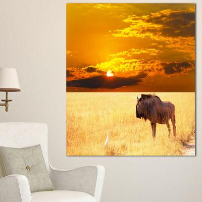 Designart Huge Antelope In Field At Sunset AfricanLandscape Canvas Art Print