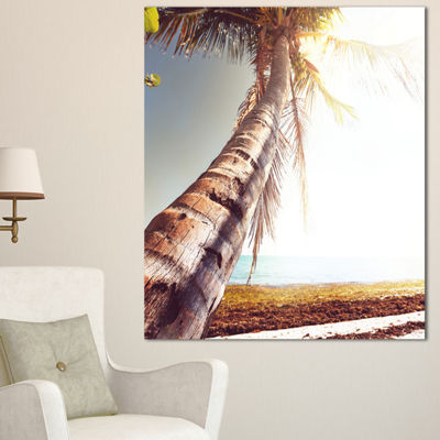 Designart Huge Bent Coconut Tree To Beach Landscape Wall Art On Canvas