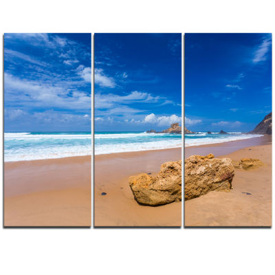 Designart Huge Brown Rock In Atlantic Seashore Seascape Triptych Canvas Art Print