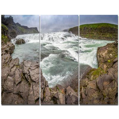 Designart Huge Gullfoss Waterfall In Iceland Landscape Print Wall Artwork
