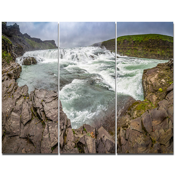 Designart Huge Gullfoss Waterfall In Iceland Landscape Print Wall Artwork
