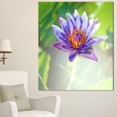 Design Art Huge Purple Lotus On Green Background Large Flower Canvas Art Print - 3 Panels