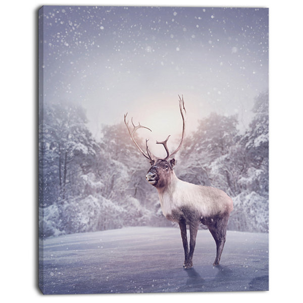 Designart Huge Reindeer Standing In Snow Animal Canvas Art Print