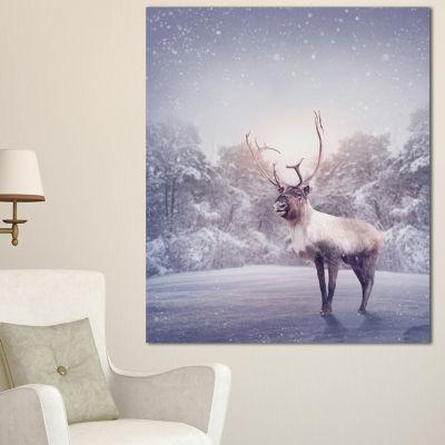 Designart Huge Reindeer Standing In Snow Animal Canvas Art Print - 3 Panels