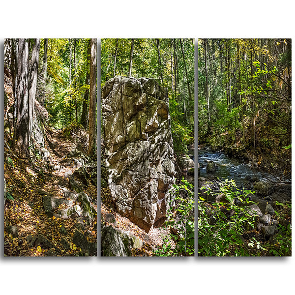 Design Art Huge Rock In Black River Shore LandscapeTriptych Canvas Art Print