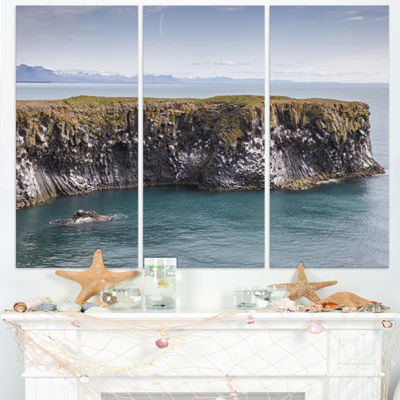 Designart Huge Rock In Coastline Panorama Extra Large Seashore Triptych Canvas Art
