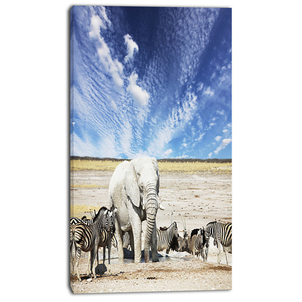 Design Art Huge White Elephant And Zebras AbstractCanvas Art Print