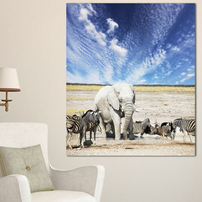 Designart Huge White Elephant And Zebras AbstractCanvas Art Print - 3 Panels