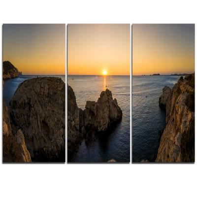 Design Art Ibiza Island Mediterranean Sunset Landscape Triptych Canvas Art Print