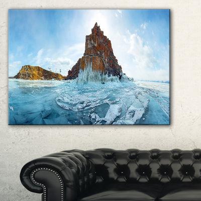 Designart Ice And Rocks Of Lake Baikal Large Seascape Art Canvas Print