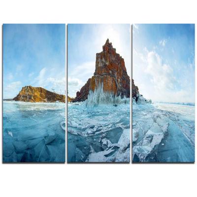 Designart Ice And Rocks Of Lake Baikal Large Seascape Art Triptych Canvas Print