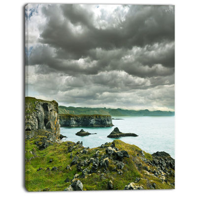 Designart Icelandic Coast Under Dark Clouds LargeSeashore Canvas Print