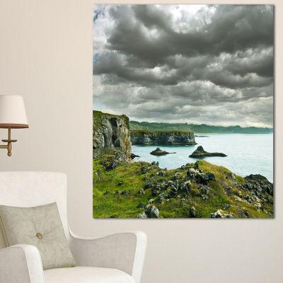 Designart Icelandic Coast Under Dark Clouds LargeSeashore Canvas Print - 3 Panels
