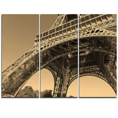 Designart Iconic Paris Paris Eiffel Towerside ViewFrom Ground Cityscape Triptych Canvas Print