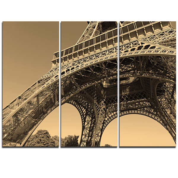 Design Art Iconic Paris Paris Eiffel Towerside ViewFrom Ground Cityscape Triptych Canvas Print