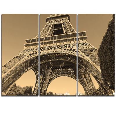 Designart Iconic Paris Paris Eiffel Towerview FromGround Cityscape Triptych Canvas Print