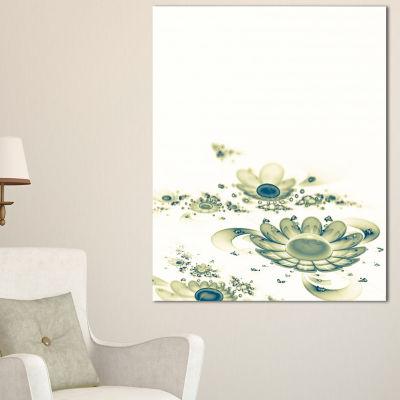 Designart Ideal Abstract Blue Fractal Flowers Floral Canvas Art Print
