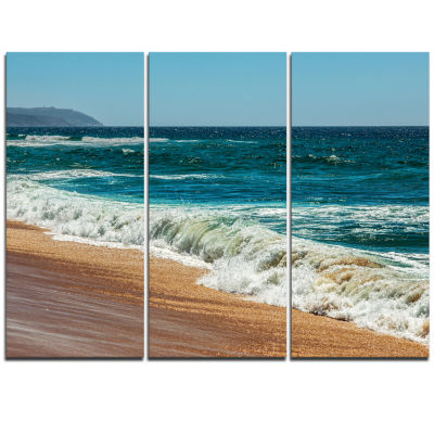 Designart Ideal Blue Atlantic Beach In SummertimeSeashore Triptych Canvas Art Print