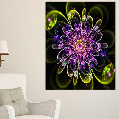 Designart Ideal Digital Art Flower In Purple Yellow Floral Canvas Art Print