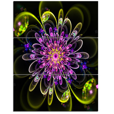 Designart Ideal Digital Art Flower In Purple Yellow Floral Triptych Canvas Art Print