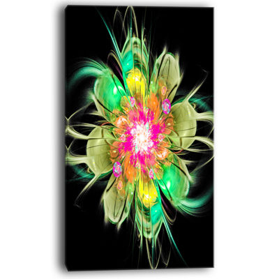 Designart Ideal Fractal Flower Digital Art In Green Floral Canvas Art Print