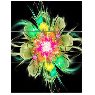 Designart Ideal Fractal Flower Digital Art In Green Floral Triptych Canvas Art Print